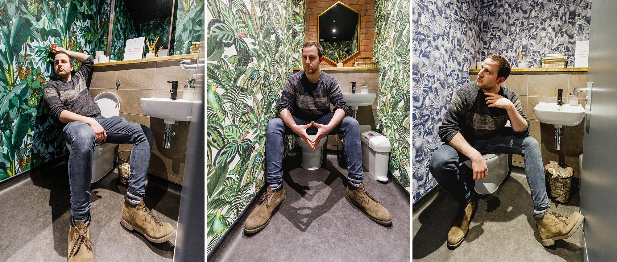 Liam Callebout toilet shoot
