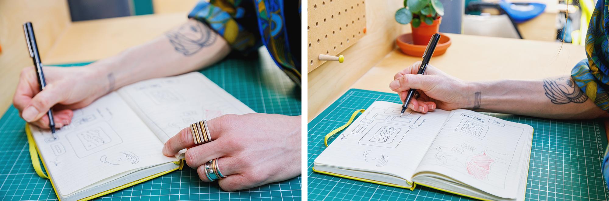 Claudia Kennaugh sketching ideas at Gather Round