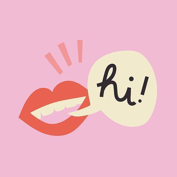Illustration - pink background, mouth saying Hi